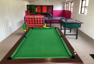 Games room, snooker, table football and soft play