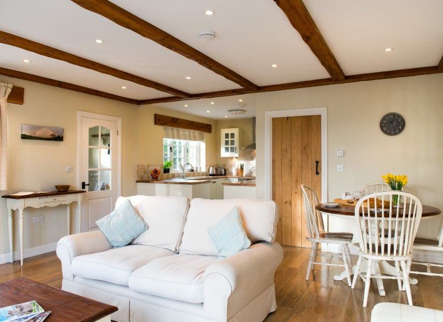 The Stables living room - Holiday Cottage with pool in Bude, North Cornwall